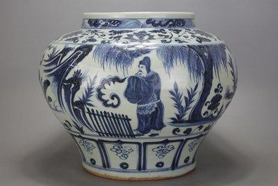 ㊣姥姥的寶藏㊣元代出土青花人物罐 古玩 民間收藏