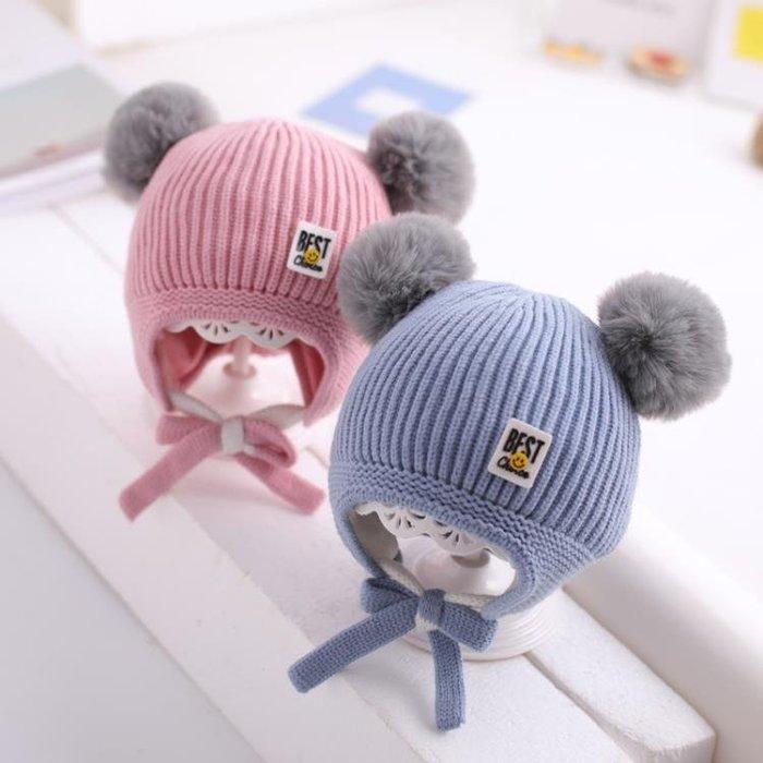 嬰兒帽子 寶寶帽子冬男童毛線帽嬰兒護耳保暖冬天0-1歲2女童加里兒童針織帽