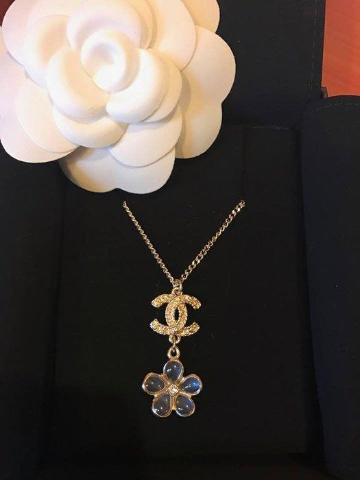 Chanel 香奈兒 2018早春款項鍊 全新 藍色小花水鑽 雙C 2用項鍊