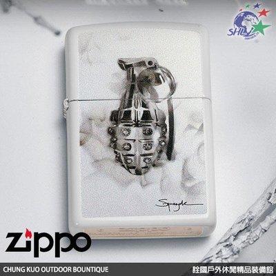 馬克斯 ZP616 Zippo 美系經典打火機 SPAZUK火焰藝術家系列 手榴彈 白色烤漆 NO.29845