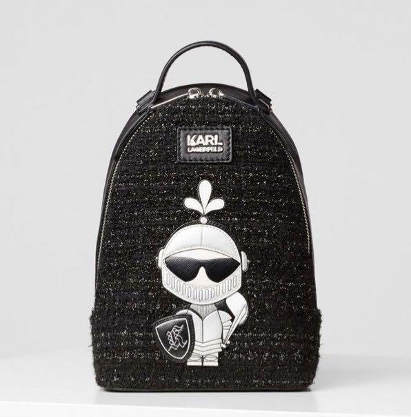 """Karl Lagerfeld """"正櫃""""騎士半皮革後背包丶Q版卡通卡爾老佛爺丶Karl後背包"""
