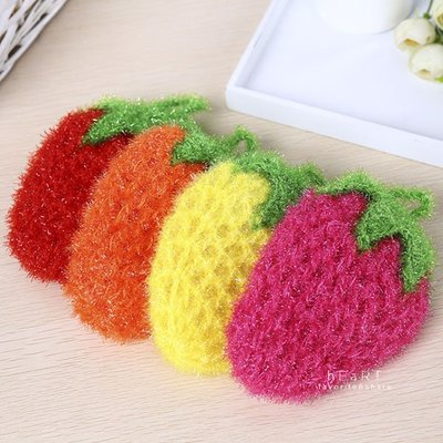 【可愛村】  草莓造型清潔棉洗碗布 草莓 清潔 洗碗 洗碗布