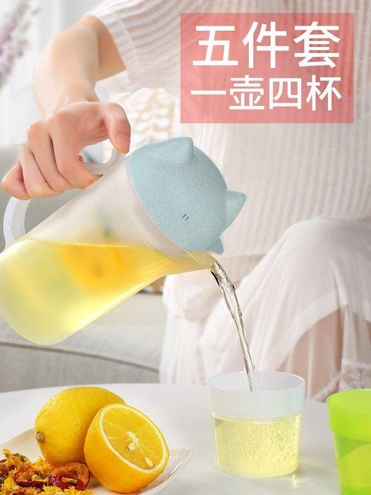 冷水壺家用耐高溫透明果汁茶塑料瓶創意加厚套裝涼白開水杯大容量玻璃水杯 陶瓷水杯 保溫杯 熱賣 保溫瓶 隨身杯 茶杯