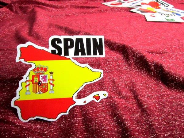 【國旗貼紙專賣店】西班牙國旗地圖抗UV、防水登機箱貼紙/Spain/世界多國款可訂製