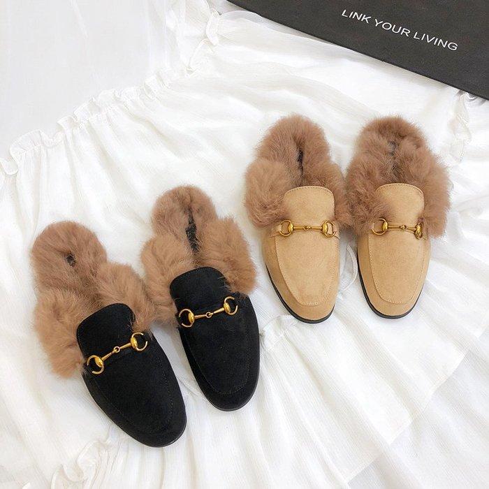 【預購】時尚超夯懶人包頭真兔毛毛毛半拖鞋平底鞋