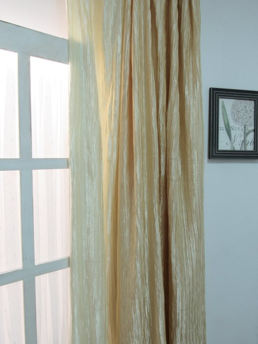 [W072]窗簾布 桌巾布 素緹  No.34素緹凸彎條-米白  No.35-鵝黃  特價出清  無接縫素緹