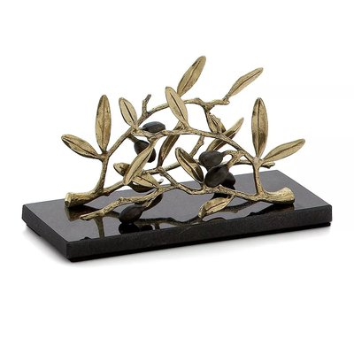 【Michael Aram】Olive Branch直立式紙巾架 花崗岩紙巾架 黃銅餐巾紙架金屬紙巾座 餐巾紙座 名片座