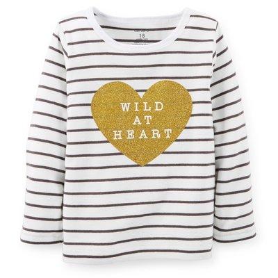 [[W&R]] ((0-24m)) Carter's  條紋大愛心長袖T恤 24m 現貨