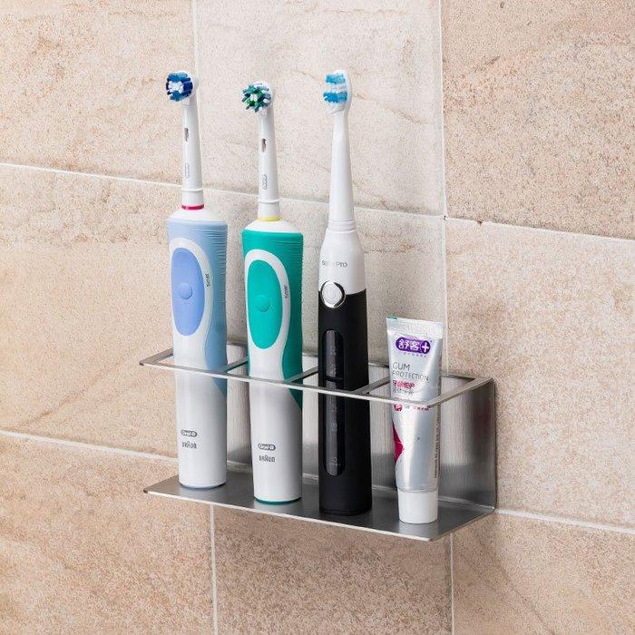 熱賣款--304不銹鋼電動牙刷置物架免打孔壁掛式衛生間漱口杯套裝掛牙具架#浴室用品#置物架#不鏽鋼#免打孔