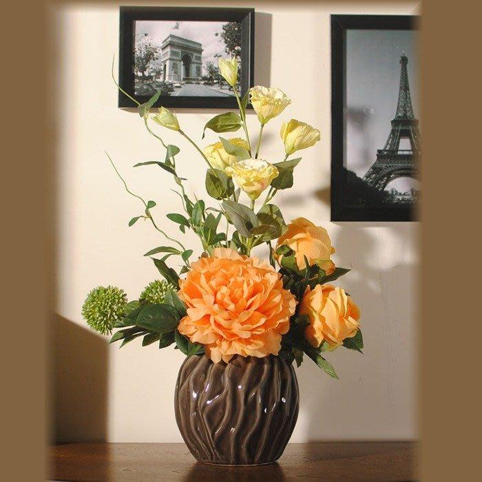 5Cgo【宅神】546757533513 富貴牡丹玫瑰桔梗新中式花藝仿真花套裝客廳桌檯絹花玫瑰擺設花假花裝飾花