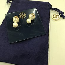 免運~Tory burch珍珠耳環Evie Double-stud Earring Ivory / Shiny Gold