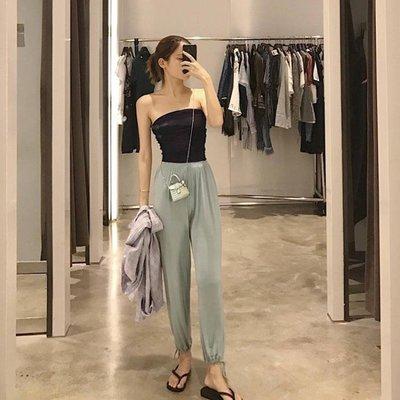 JOYOUS大喜慶女休閒褲子高腰垂感運動束口顯瘦薄款夏季蘿蔔長褲可可西里