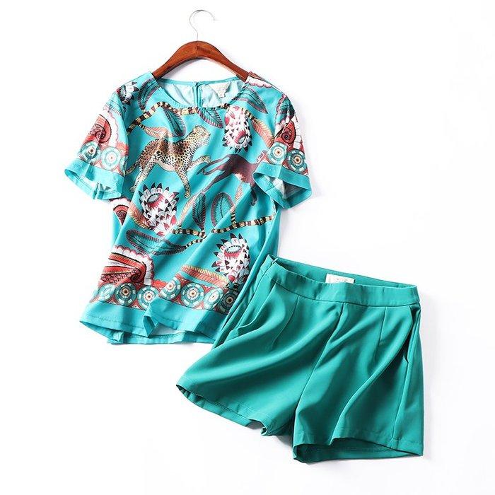 正韓【兩件套】H@17 女裝短袖上衣+休閑短褲套裝