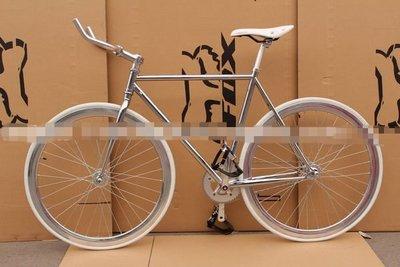 【河馬自行車】場地車 單速車 Fixed Gear 死飛 倒騎 牛角把 大刀圈 電鍍銀