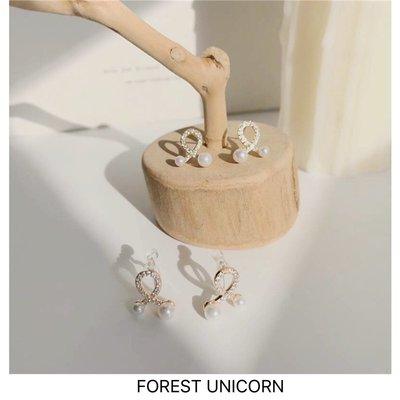 千禧禧居~FOREST UNICORN日式簡約小眾溫柔甜美鋯石交叉珍珠耳環女耳釘耳夾
