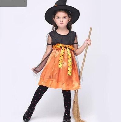 兒童萬聖節 服裝cosplay女巫服裝兒童表演服套服 巫婆角色扮演衣服 莎芭