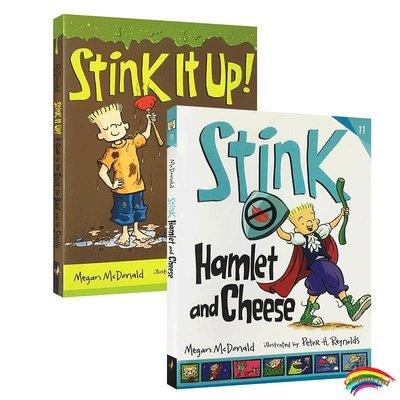 英文原版繪本讀物Stink系列2本臭氣熏天的哈姆雷特和奶酪兒童英文故事書籍睡前故事Stink hamlet and cheese親子共讀