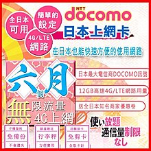 *日本好好玩 超商免運費*半年 6個月 日本上網卡 12GB高速用量 4G 吃到飽 送行李秤 日本docomo sim卡