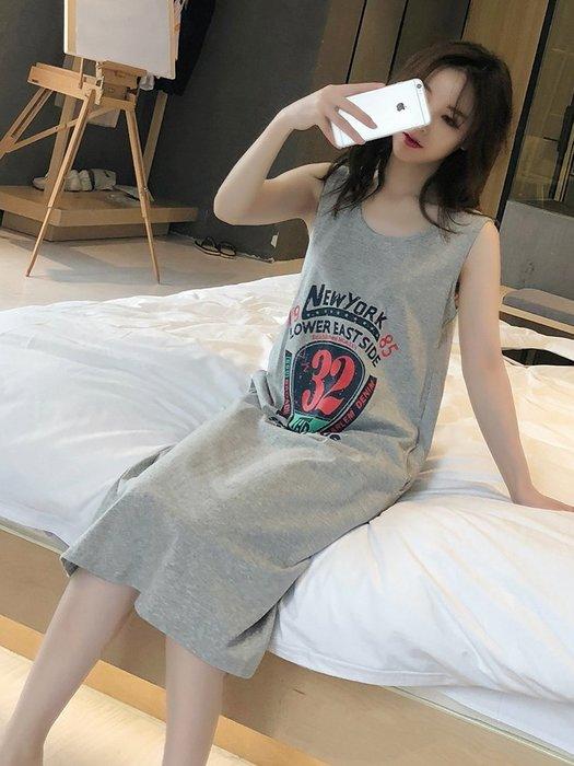 創意 居家服飾韓版吊帶睡裙女夏純棉清新性感睡衣夏季可愛無袖背心長裙秋季學生