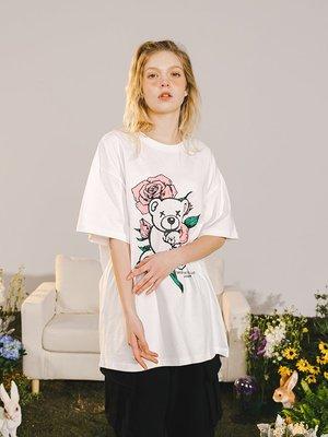 Anne運動服潮流觀止 RAVENOUS休閒 新款玫瑰小熊印花短袖寬松情侶運動T恤男女潮牌
