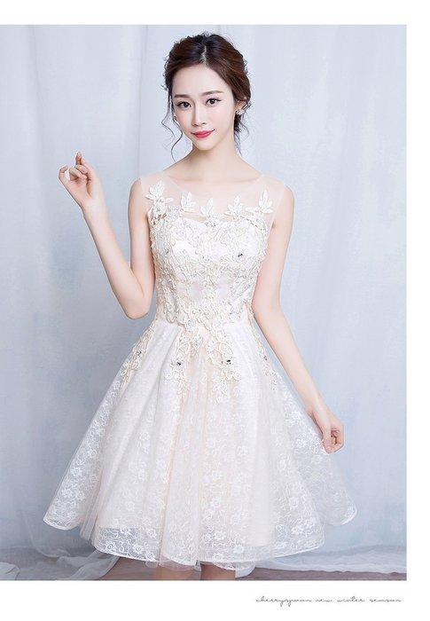 【曼妮婚紗禮服】3件免郵~結婚伴娘 修身顯瘦公主婚紗小禮服CA088