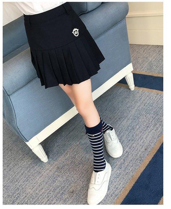 諠諠小舖~女童半身裙中大童學院風百摺 裙 夏季新款兒童短裙女