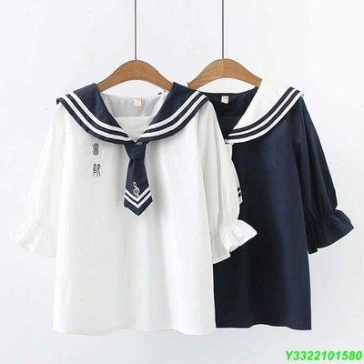 15日系七分袖上衣13少女小清新刺繡音符16海軍領14上衣初高中學生 DB#195
