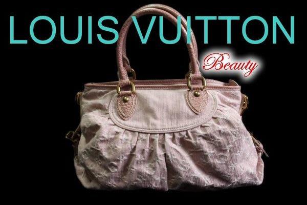 *Beauty*LOUIS VUITTON LV粉紅色LOGO 單寧包牛仔包 近全新