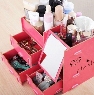 中號 化妝品收納盒DIY桌面 木質收納盒化妝鏡木質桌面化妝收納盒拼裝置物大容量多 化妝三合一收納櫃化妝鏡