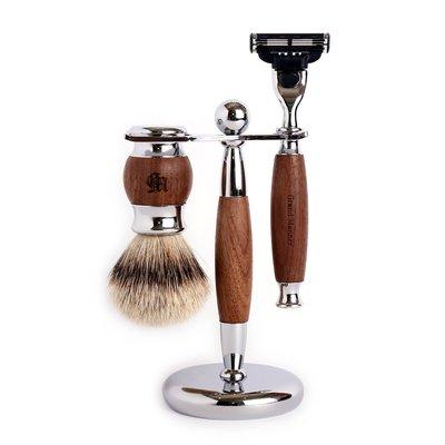 英國 Grand Manner 尊爵系列 修容刮鬍套組(胡桃木 / 鋒速3 Mach3 / Shaving Set)