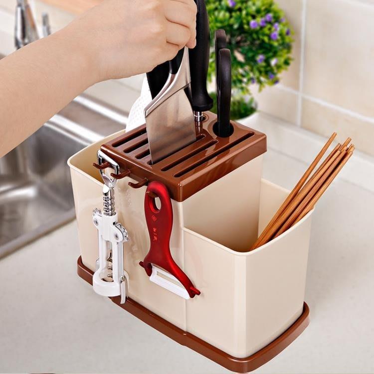 雙慶廚房筷子籠落地筷筒子多功能筷子架瀝水塑料筷籠廚房用品收納    全館免運