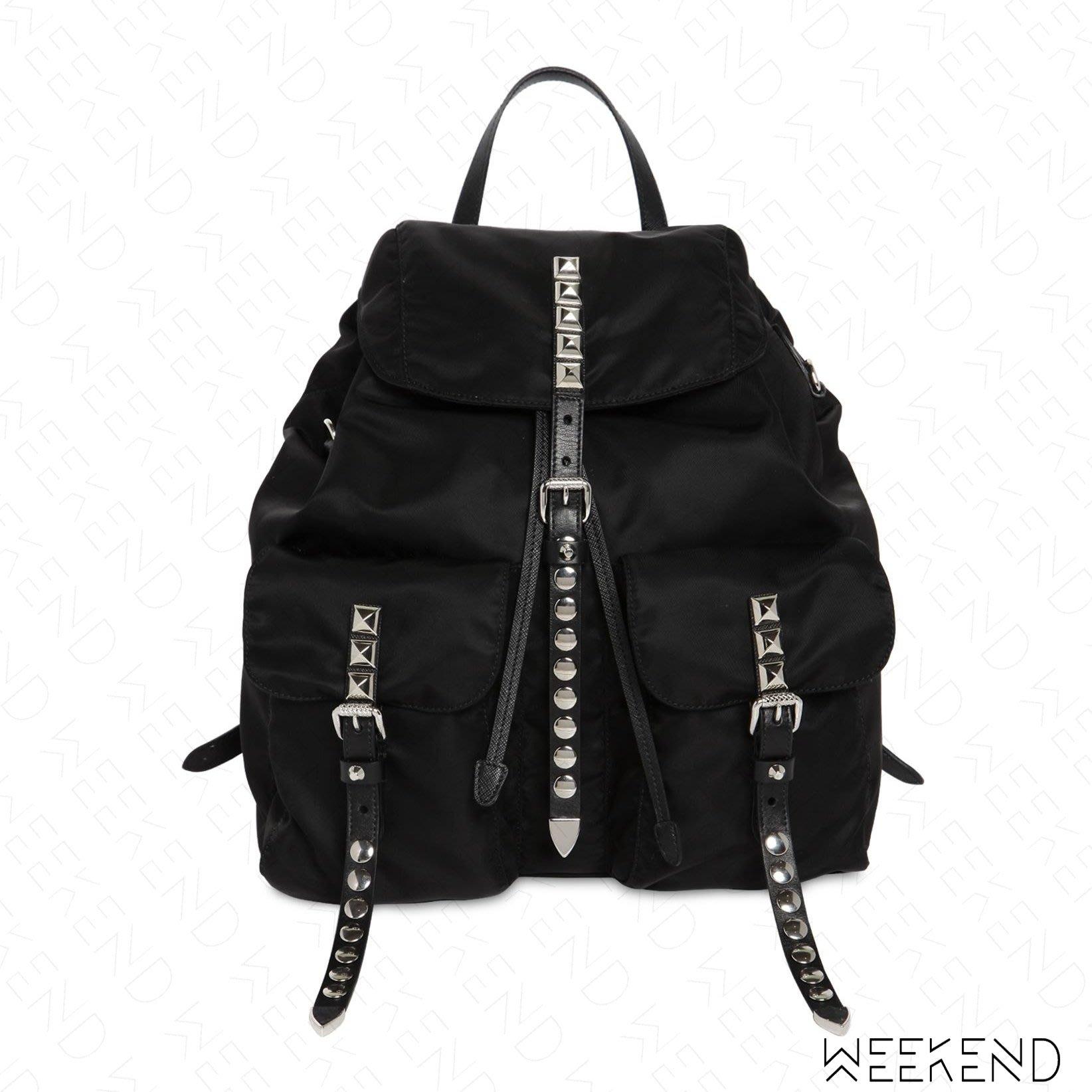 【WEEKEND】 PRADA Studded Logo 尼龍 鉚釘 扣帶 後背包 黑帶 黑色