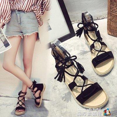 夏季新款韓版綁帶涼鞋女學生百搭平跟流蘇羅馬鞋平底女鞋子潮
