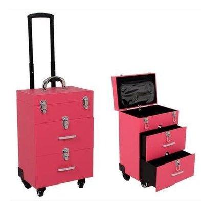 【優上】豪華萬向輪拉桿化妝箱拉桿箱專業大號多層收納箱紋繡工具箱紅色雙抽屜