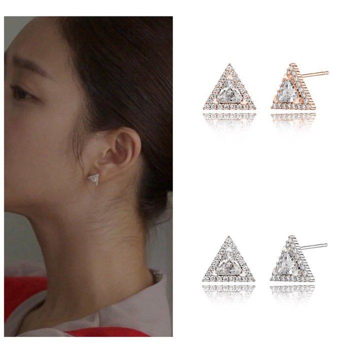 【韓Lin連線代購】韓國 HAESOO.L 海秀兒 - MB926 925銀 明星款三角形鑲鑽耳環