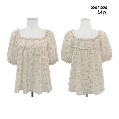 【集千】古力娜扎同款夏韓國菲邊蕾絲泡泡袖碎花襯衫