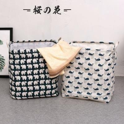 [新品]帶蓋束口方形可折疊臟衣簍放衣服的籃子布藝北歐家居收納桶  〖影時代〗