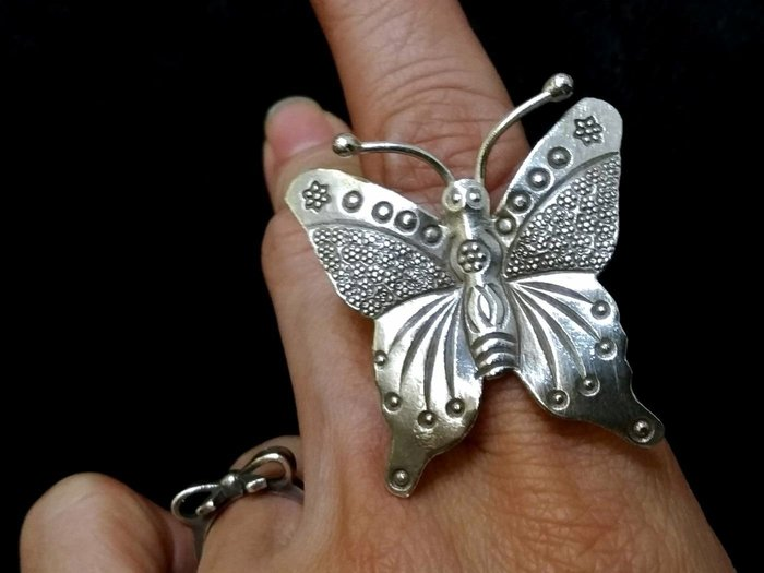 手工925純銀飾戒指 蝴蝶造型(蝴)(福來了)