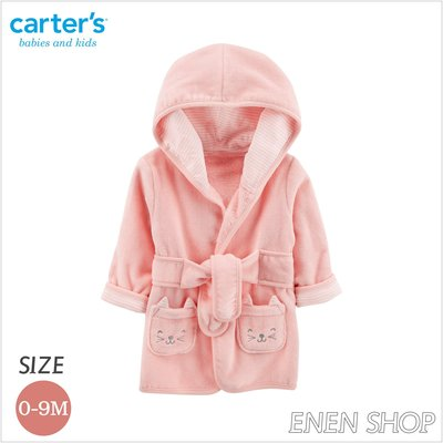 『Enen Shop』@Carters 可愛粉貓咪款連帽浴袍/ 浴巾/ 包巾/ 長袍 126H781 0-9M 新生兒/ 彌月禮 新竹縣
