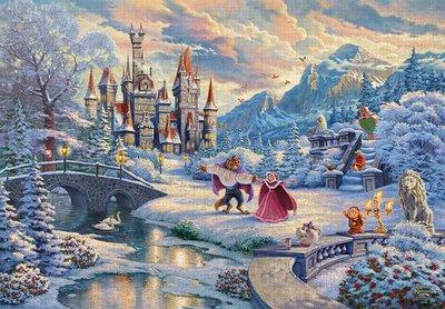 缺 日本進口拼圖 迪士尼 公主與王子 美女與野獸 冬天 貝兒 1000片拼圖 1000-072