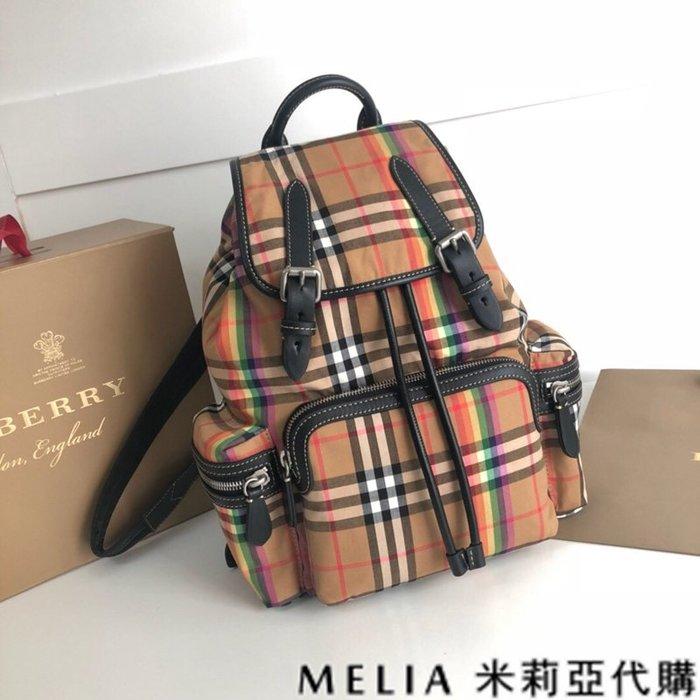 Melia 米莉亞代購 美國精品代購 巴寶莉 戰馬 女士秋冬新款 中號 雙肩包 後背包 經典格紋 彩虹條紋