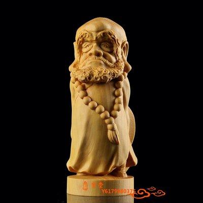 【福寶堂】黃楊木雕手把玩件雕刻工藝裝飾品人物擺件卡通 Q版達摩