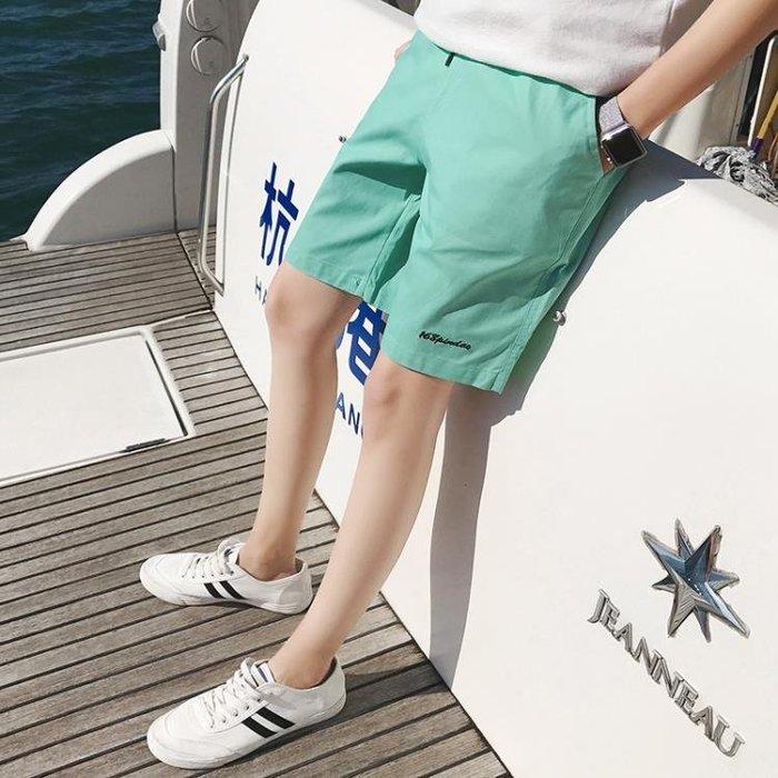 短褲港風沙灘褲男速幹五分褲夏季透氣休閒運動短褲男女青年海邊熱褲潮