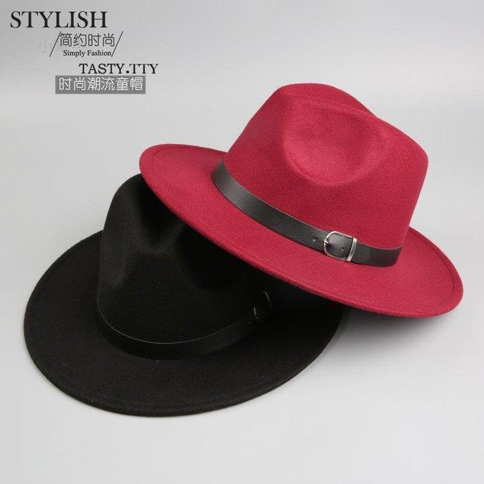 MN9兒童帽子秋冬兒童仿羊毛呢帽子禮帽皮扣爵士寬沿帽(優品小舖)