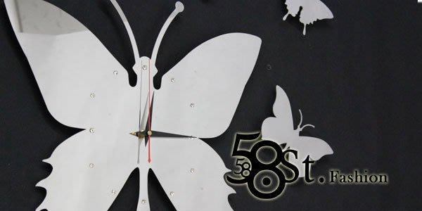 【58街】創意設計師款式「-迷舞蝴蝶- 不銹鋼靜音掛鍾」,複刻版。AB-117