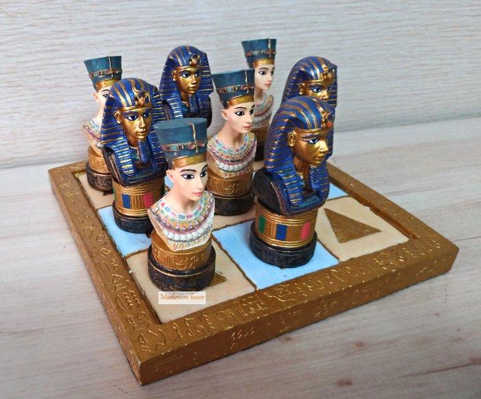 點點蘑菇屋 歐洲精品法老王與艷后井字遊戲棋組 OOXX棋組 棋盤 擺飾 古埃及文明 埃及古文 Egypt 藝術品 現貨