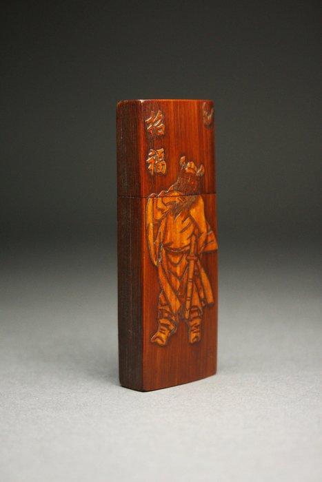 悅年堂 --- 竹刻留青 鍾馗圖 蓋盒