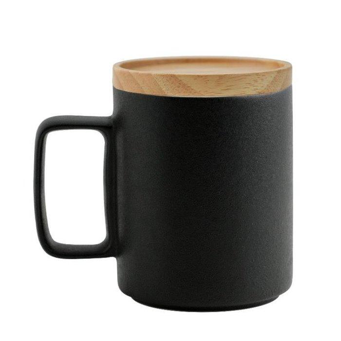 馬克杯黑砂釉黑色陶瓷帶蓋杯子咖啡杯水杯禮盒送禮