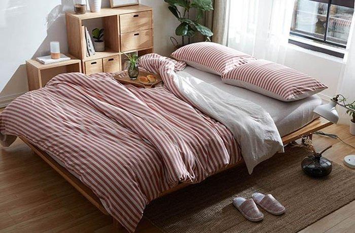 純棉親膚裸睡專用床包組(酒紅條紋) 床包 床單 枕頭套 枕頭 床 棉被 被套 寢具 裸睡 純棉 床包組 拖鞋 室內拖鞋