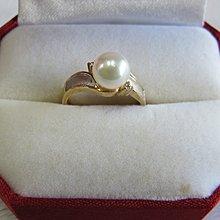 立堡珠寶精品交流~ NO.35 天然珍珠戒指 女戒 14K金戒指+2顆小鑚 可刷卡分期~